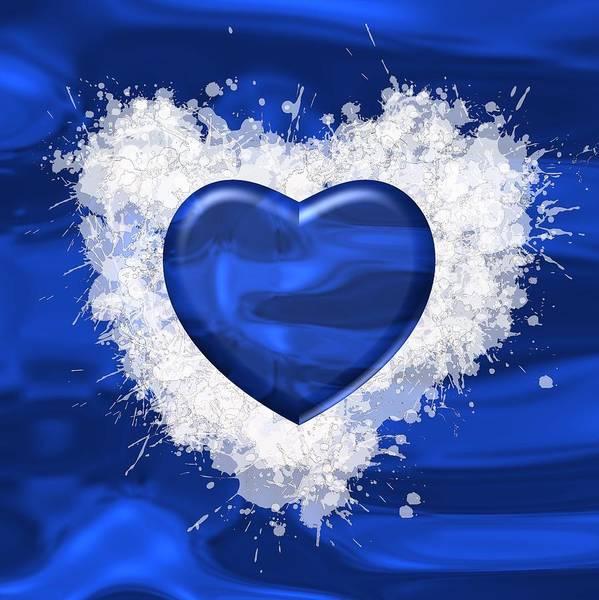 Digital Art - Blue Heart Over Blue  by Alberto RuiZ