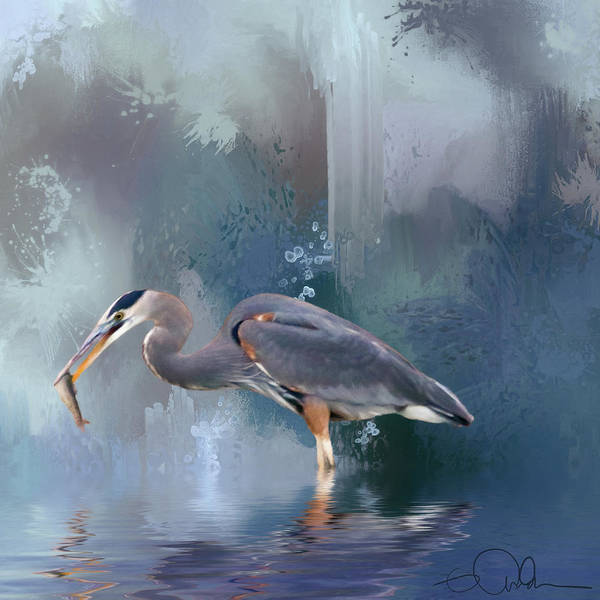 Digital Art - Blue Heron And A Fish by Gloria Anderson