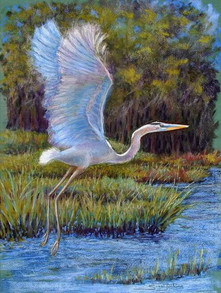 Blue Heron In Flight Art Print