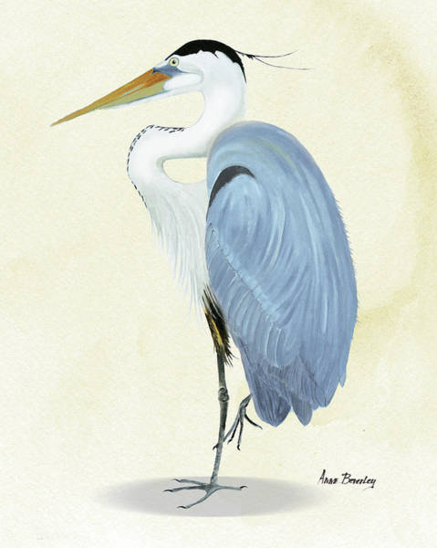 Painting - Blue Heron In Oil by Anne Beverley-Stamps