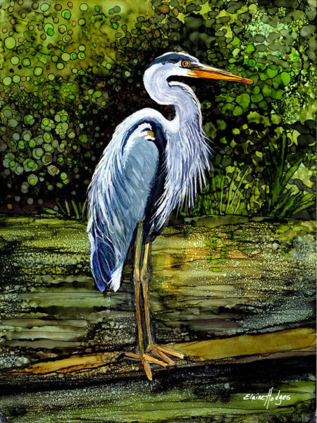 Stork Painting - Blue Heron In Swamp by Elaine Hodges