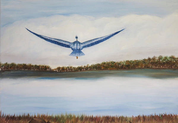My Son Painting - Blue Heron by Judy Nelson