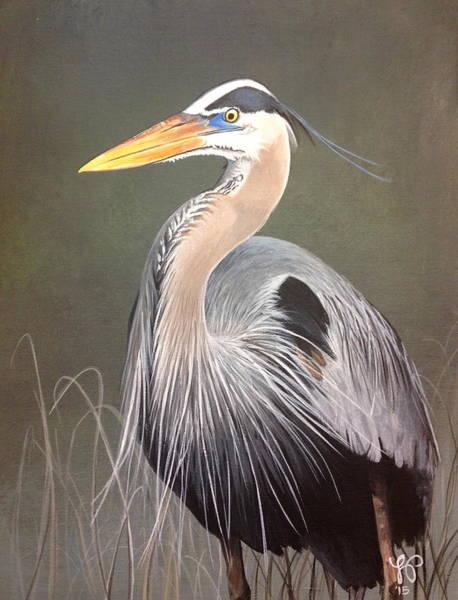 Marsh Bird Painting - Blue Heron by Laura Parrish