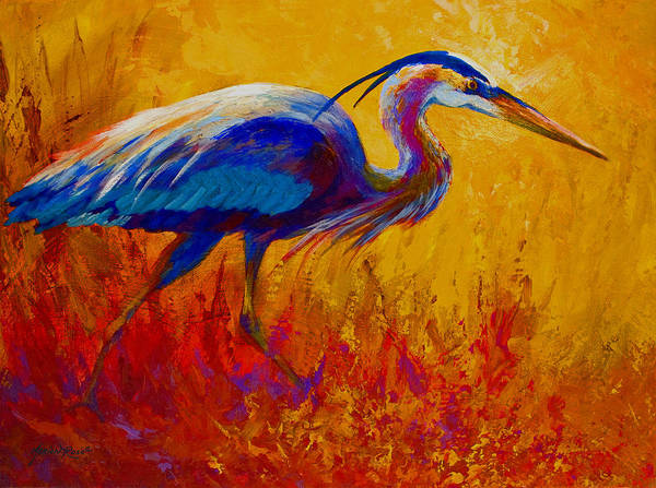 Texture Painting - Blue Heron by Marion Rose