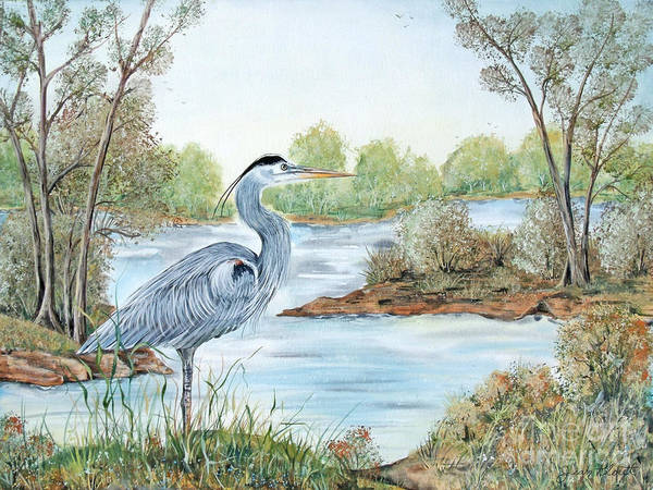 Marsh Bird Painting - Blue Heron Of The Marshlands by Jean PLout