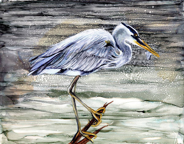 Wall Art - Painting - Blue Heron On Water by Elaine Hodges