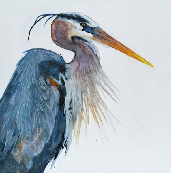 Mixed Media - Great Blue Heron by Jani Freimann