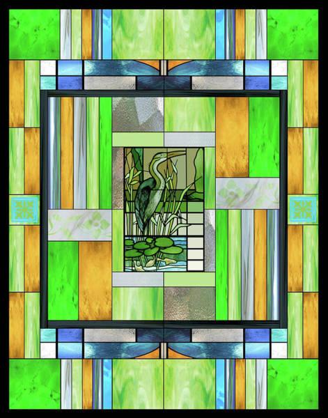 Wall Art - Mixed Media - Blue Heron Stained Glass by Ellen Henneke