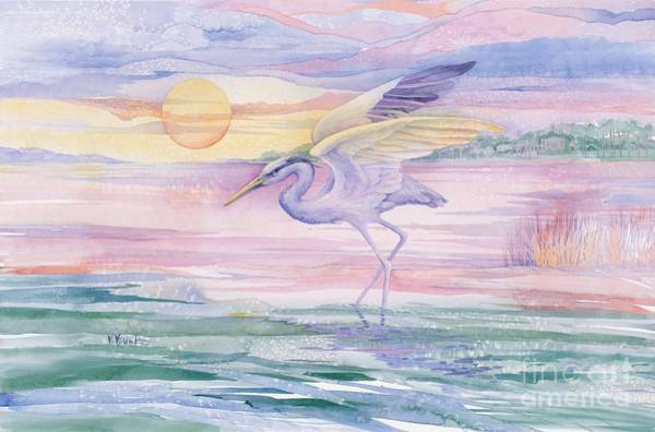 Pelican Wall Art - Painting - Blue Heron Twilight by Paul Brent