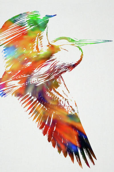 Bird Watercolor Mixed Media - Blue Heron Wild Animals Of The World Watercolor Series On White Canvas 002 by Design Turnpike