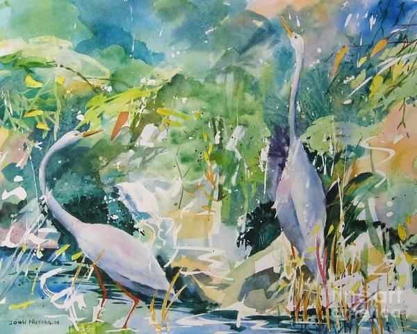 Painting - Blue Herons by John Nussbaum
