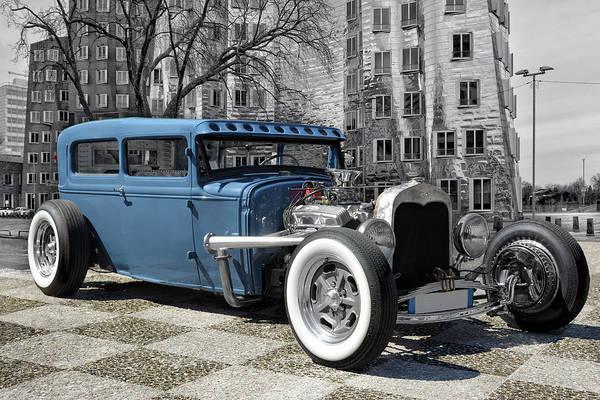 Modified Photograph - Blue Hotrod by Joachim G Pinkawa