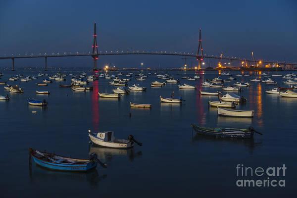 Photograph - Blue Hour At 1812 Constitution Bridge From Puntales Cadiz Spain by Pablo Avanzini