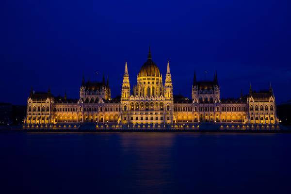 Buda Photograph - Blue Hour At Budapest Parliament  by Bridget Calip