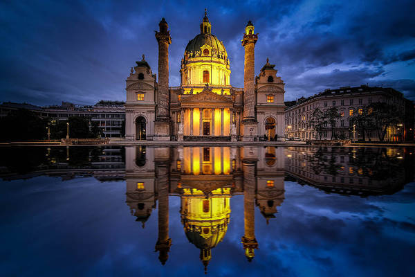 Blue Hour At Karlskirche Art Print