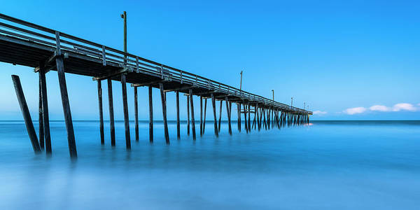 Photograph - Blue Hour At Outer Banks Rodanthe Fishing Pier Panorama by Ranjay Mitra