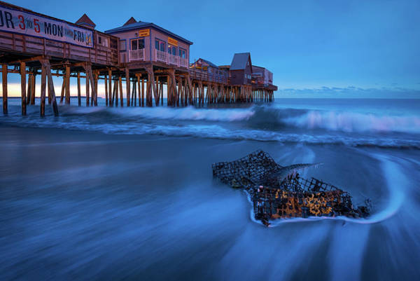 Blue Hour At The Old Orchard Beach Pier Art Print by Jeff Bazinet