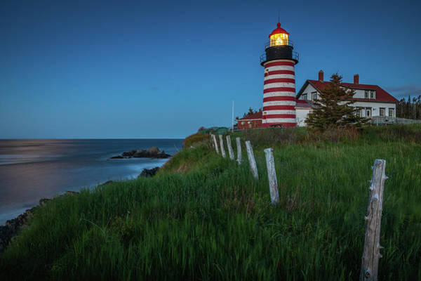 Photograph - Blue Hour At West Quoddy Head Light by Colin Chase