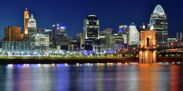Wall Art - Photograph - Blue Hour Cinci Pano View by Frozen in Time Fine Art Photography