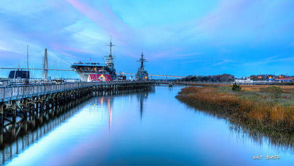 The Patriot Photograph - Blue Hour Over Patriots Point by Walt Baker
