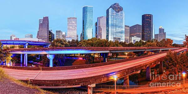Wall Art - Photograph - Blue Hour Panorama Of Downtown Houston Skyline - Harris County Texas by Silvio Ligutti