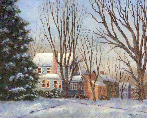 Painting - Blue House In Winter by Susan Savad