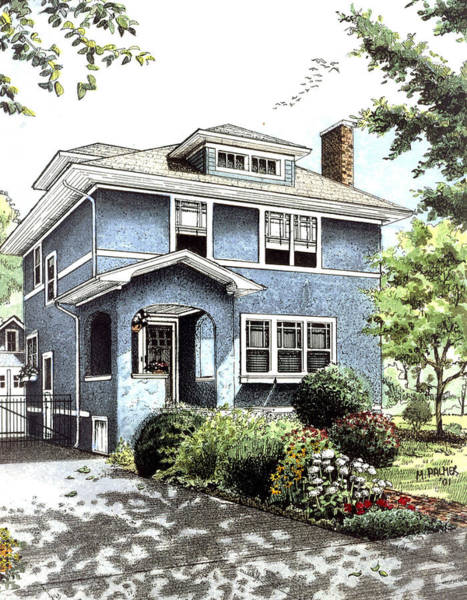 Drawing - Blue House by Mary Palmer