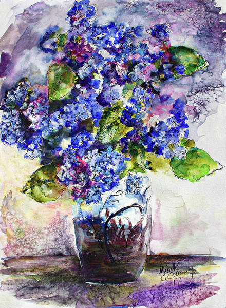 Painting - Blue Hydrangeas In Art Glass Vase Still Life by Ginette Callaway