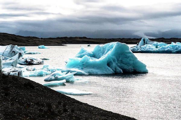 Photograph - Blue Ice Black Beach by Tom Singleton