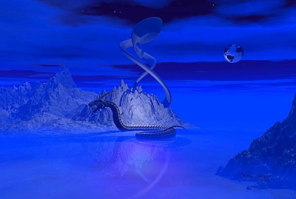Digital Art - Blue Ice World Dragon by Deleas Kilgore