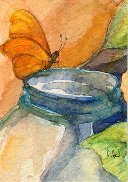 Painting - Blue Jar And Butterfly by Nancy Watson