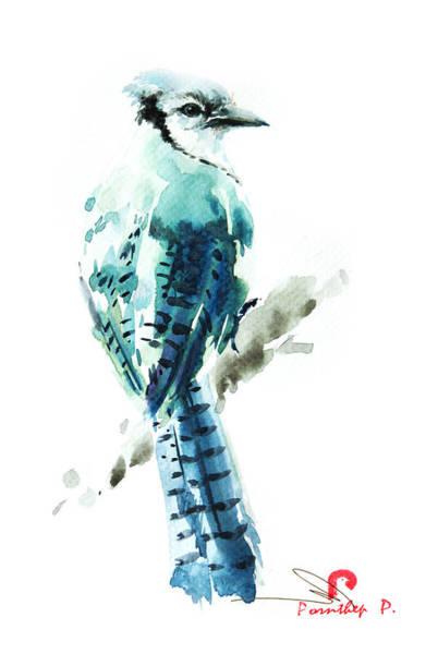 Birdman Painting - Blue Jay Bird by Pornthep Piriyasoranant