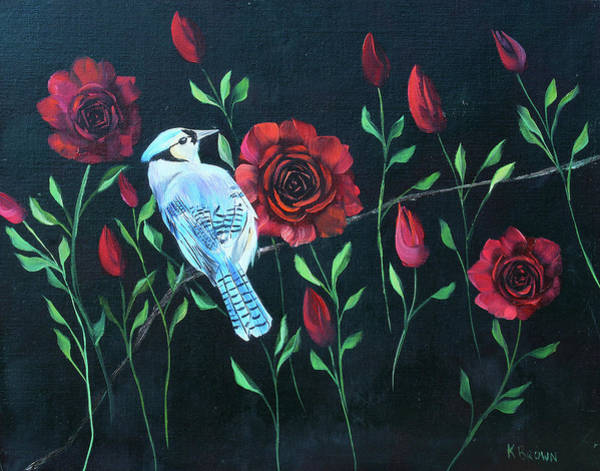 Blue Jay In Rose Bush Art Print