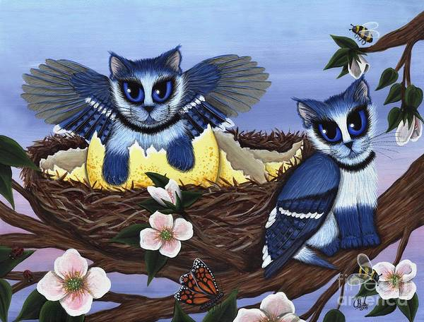 Blue Jay Kittens Art Print