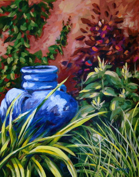Painting - Blue Jug by Outre Art  Natalie Eisen
