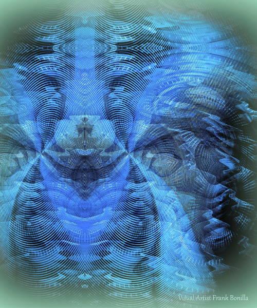Digital Art - Blue Kitty by Visual Artist Frank Bonilla