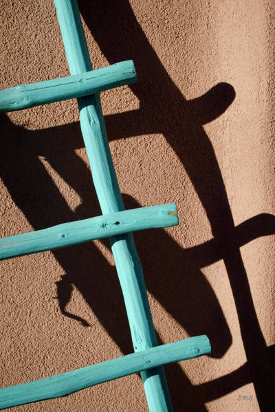Blue Ladder And Shadow Art Print by David Gordon