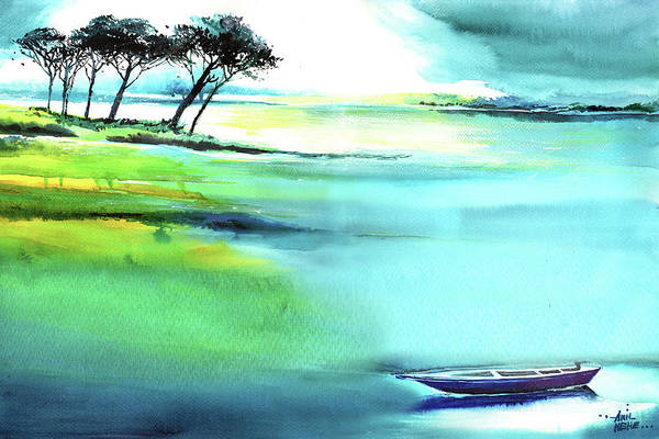 Painting - Blue Lagoon by Anil Nene