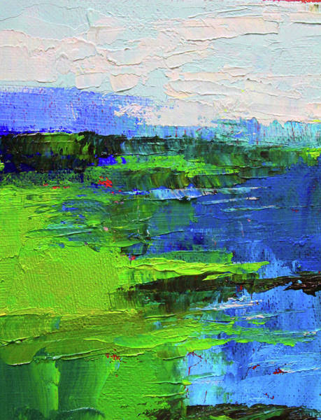 Semi Abstract Painting - Blue Lake by Nancy Merkle