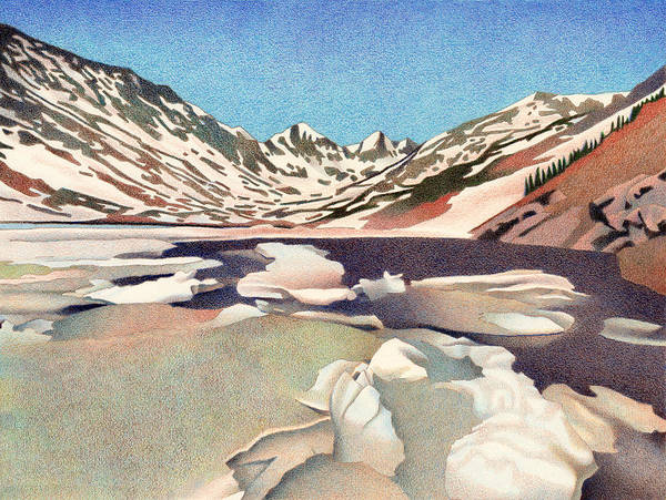 Drawing - Blue Lakes Colorado by Dan Miller