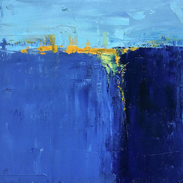 Semi Abstract Painting - Blue Landscape by Nancy Merkle