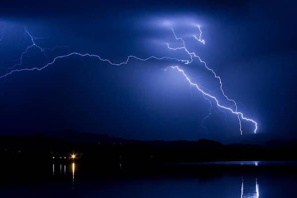 Photograph - Blue Lightning Sky Over Water by James BO Insogna