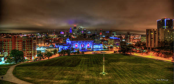 Wall Art - Photograph - Blue Lights On Kansas City Union Station Kansas City Missouri Art by Reid Callaway
