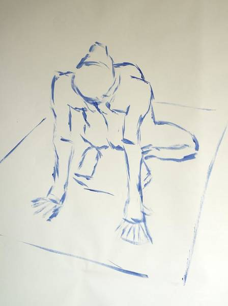 Drawing - Blue Line Painting Of A Male Nude Kneeling On His Heels And Resting On Hands Which Are Behind Him by Mike Jory