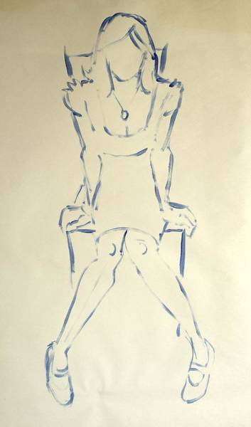 Drawing - Blue Line Painting Of Woman Sat On Chair With Hands On The Sides Of Her Legs by Mike Jory