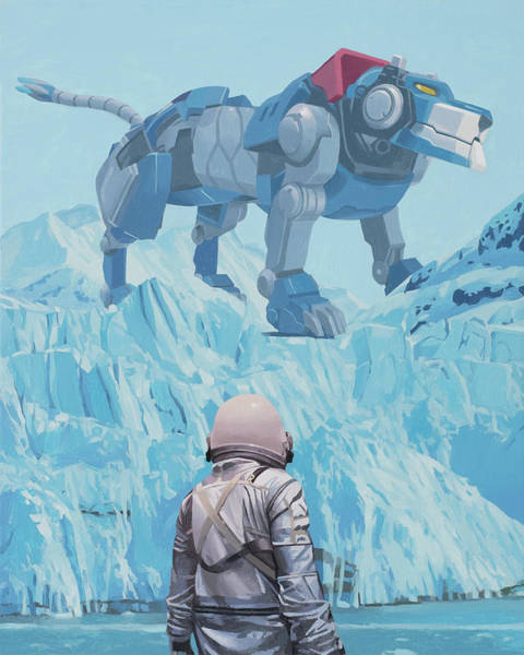 Lions Painting - Blue Lion by Scott Listfield
