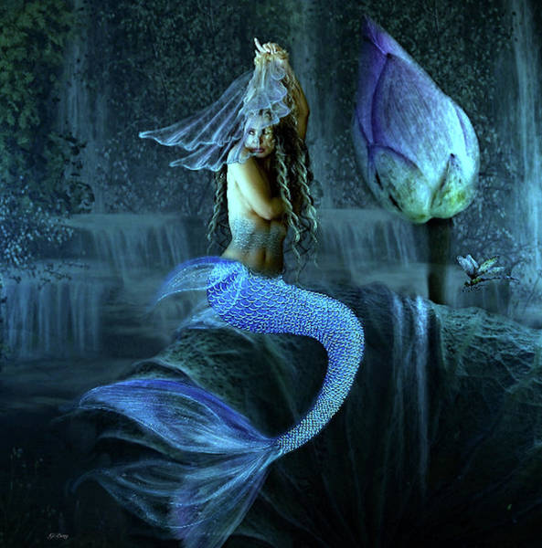 Lotus Mixed Media - Blue Lotus Mermaid by G Berry