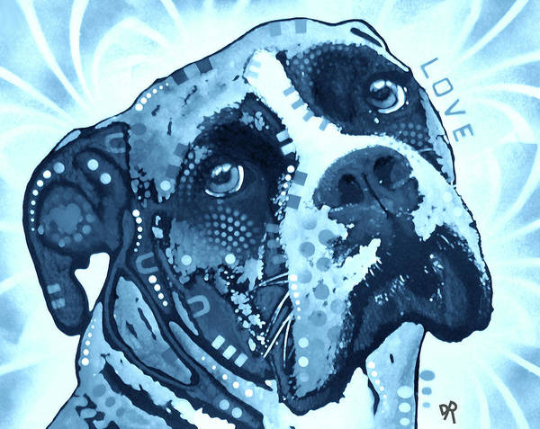 Wall Art - Painting - Blue Love Boxer by Dean Russo Art