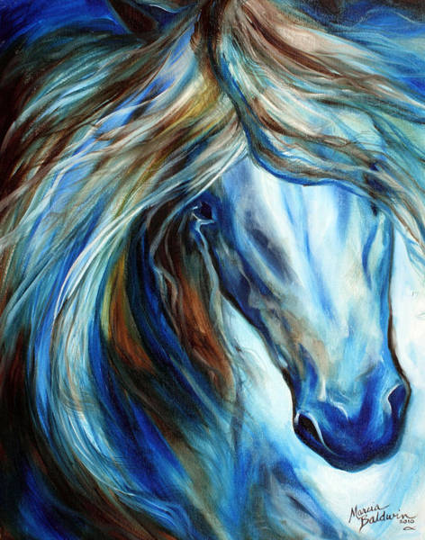 Wall Art - Painting - Blue Mane Event Equine Abstract by Marcia Baldwin