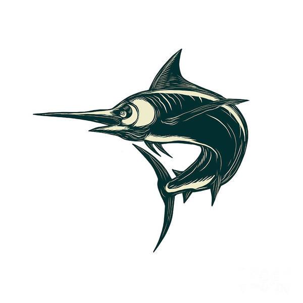 Scratchboard Wall Art - Digital Art - Blue Marlin Jump Scratchboard  by Aloysius Patrimonio